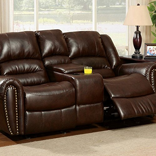 Furniture of America Dudhope Dark Brown Reclining Console Loveseat (Loveseat Lane Reclining Leather)