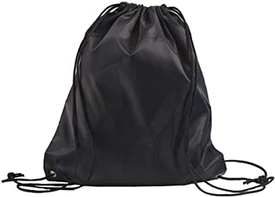 Drawsting Reflector Bakcpack w//Leather-like bottom Black
