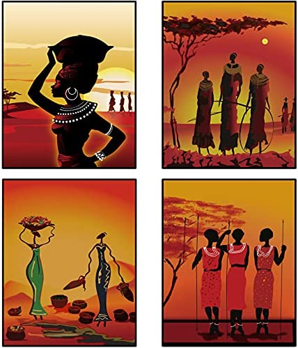 4 Pieces African American Women Wall Art Paintings...