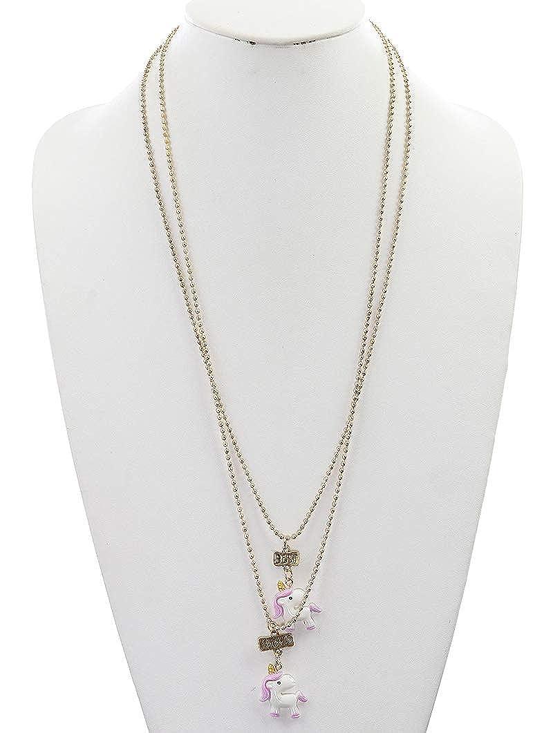 Purple 2 Set Friendship Acrylic Unicorn Charm Necklace Fashion Jewelry FancyCharm