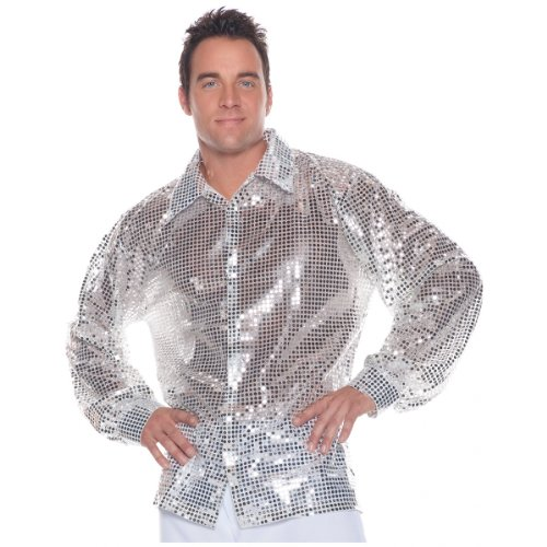 Disco Costumes Male (Men's Disco Costume - Sequin Shirt, Silver, X-Large)