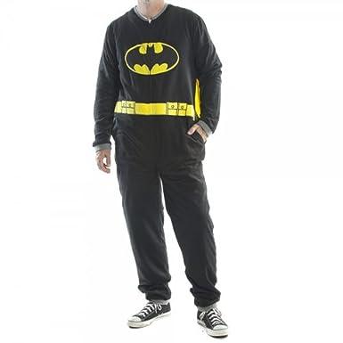 Batman Black Union Suit Mens Caped Pajama (Adult Medium)
