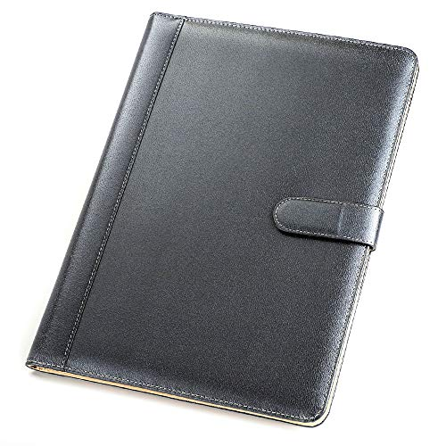 Padfolio Business/Resume Portfolio, AHGXG Leather Folder with Clipboard Document Organizer with Paper Clip, Letter Writing Pad, Pen Holder, Magnetic Closure and Pockets Contrast Stitch for Interview