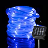 lychee 16.5ft 50LED Waterproof Solar Power String 1.2 V, Daylight White, with Light Sensor, Outdoor Rope Lights, Ideal for Christmas, Party, Wedding (Blue)