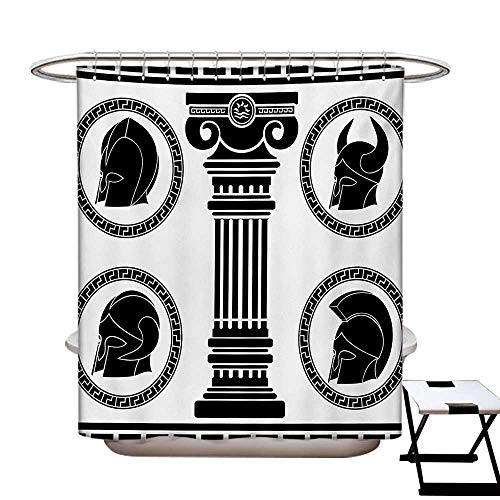 Toga Party Shower Curtains 3D Digital Printing Patterned Circular Frames with Antique Accessories Spartan Classic Costume Custom Made Shower Curtain W48 x L72 Black and White