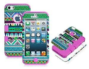 CECT STOCK 3-en-1 de plástico y silicona protectora para el iPhone 5 (verde y púrpura)