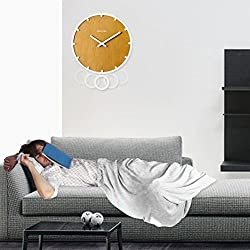 Pendulum Wall Clock , Simple & Retro Wall Clock Silence ABS Backplane, Battery Operated, 12 Inches, Great for Home & Office by Sportsvoutdoors (White)