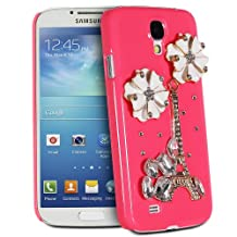 Fosmon GEM Series 3D Bling Eiffel Tower with White Flower Design Case Cover for Samsung Galaxy S4 / S IV / GT-I9500 - Fosmon Retail Packaging (Hot Pink)