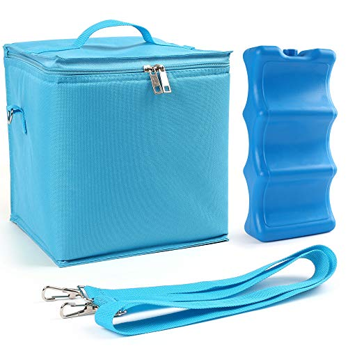LotFancy Breastmilk Cooler, with Contoured Ice Pack, Reusable Insulated Lunch Bag for Picnic Work School Travel, Freezable Baby Bottle Tote Bag for up to 6 Large 8oz. Bottles