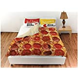 Pepperoni Pizza Queen Duvet Cover With Red Pepper And Parmesan Pillow Shams
