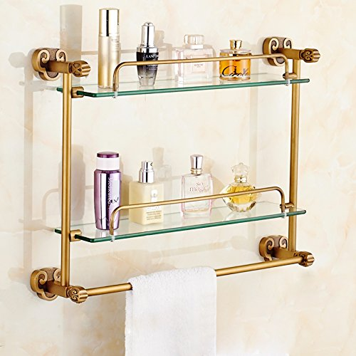All Copper Antique Claw Glass Bathroom Towel Rack Shelving Bathroom Toilet Double Towel Rack