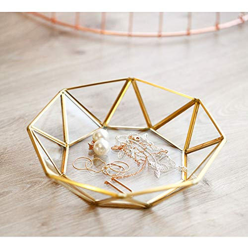 HomDSim Octagonal Disc Vintage Gold Mirror Glass Vanity Tray,Ornate Geometric and Brass Plated Display Storage Organizer for Makeup Brushes/Lipstick/Skincare/Perfumes/Beauty Room/Bathroom Accessories - Octagonal Mirror Tray