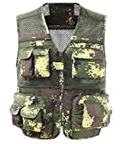Comaba Mens Zip-Front Mesh Lining Casual Loose Cargo Work Waistcoat Green M
