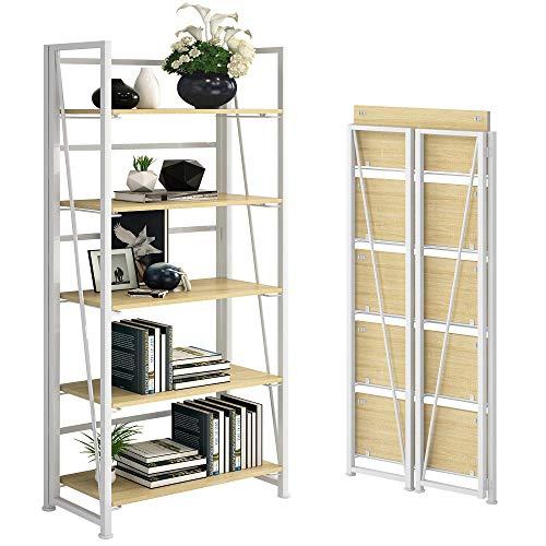 GHQME No-Assembly Folding Bookshelf Storage Shelves 5 Tiers Vintage Multifunctional Plant Flower Stand Storage Rack…