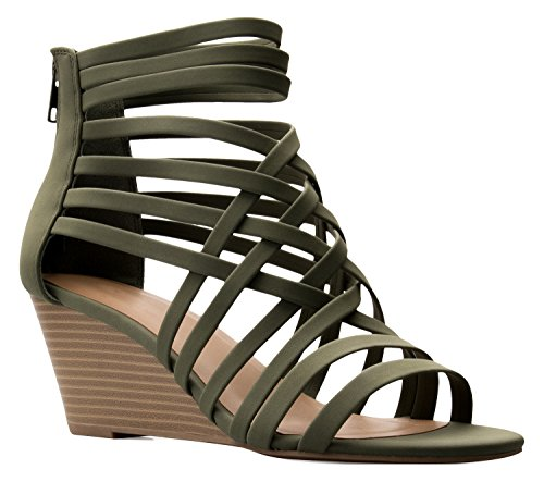 OLIVIA K Womens Strappy Woven Wedge Sandals - Sexy Open Toe Heel - Comfort, Fasionable, Casual Style, Khaki, 6 B(M) US