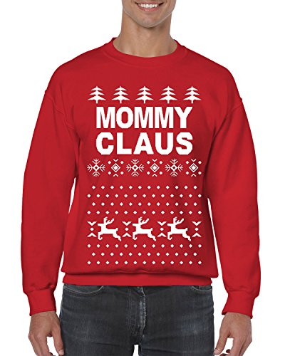 SpiritForged Apparel Mommy Claus Ugly Christmas Crewneck Sweater, Red Medium