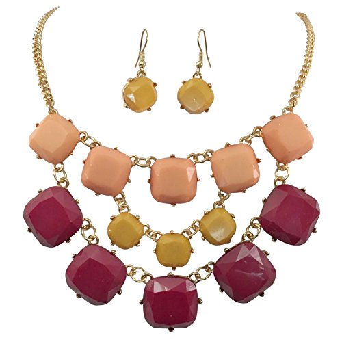 3 Row Squares Multi Color Gold Tone Bib Statement Necklace Earrings Set (Maroon Yellow Peach)]()