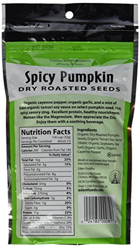 Eden Organic Dry Roasted Seeds, Spicy Pumpkin, 4-Ounce Resealable Bags (Pack of 15) by Eden (Image #4)