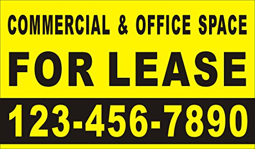 3ftX5ft Custom Printed COMMERCIAL & OFFICE SPACE FOR LEASE Banner Sign with Your Phone Number
