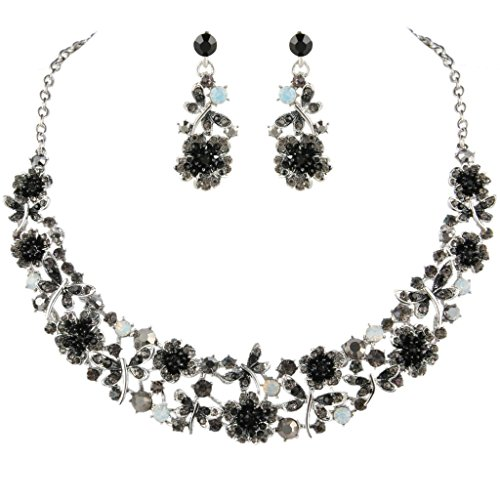 EVER FAITH Austrian Crystal Enamel Butterfly Hibiscus Floral Vine Necklace Earrings Set Black Silver-Tone (Floral Earrings Crystal Necklace)
