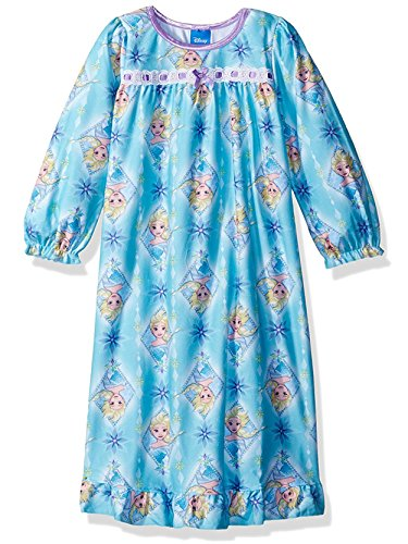 Disney Frozen Elsa Anna Girls Flannel Granny Gown Nightgown (Blue/Multi, (Elsa Frozen Gown)