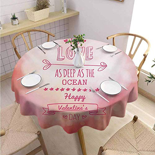 Halloween Restaurant Specials Las Vegas (VICWOWONE Kitchen Round Tablecloth Valentines Day Decorated Restaurant Pink Color My Love Deep as The Ocean Romantic for Her with Star Hearts Arrow,Round - 39 inch Pink)