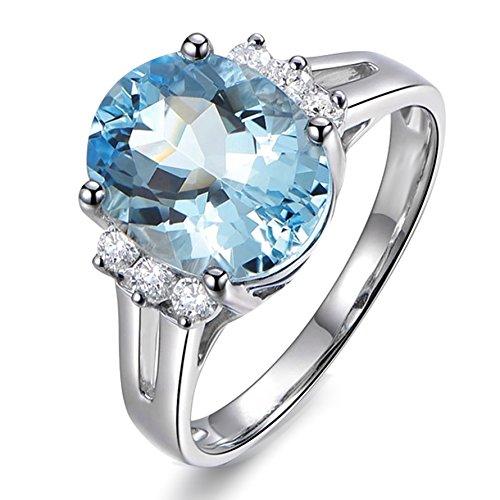 Elegant Fashion Gemstone Aquamarine Wedding For Women Solid 14K White Gold Diamond Engagement Band Ring Sets