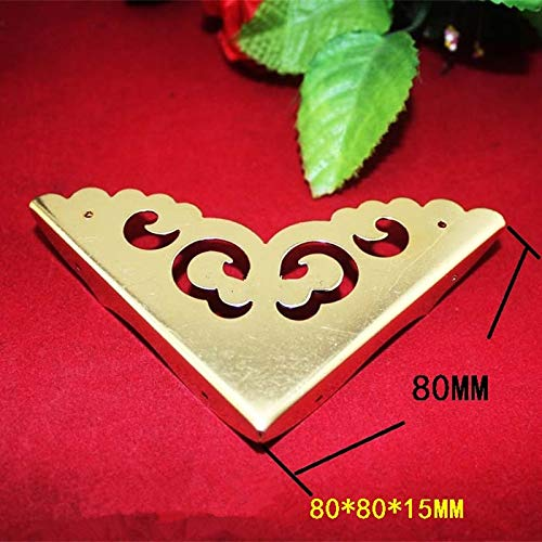 Gimax Bulk Yellow Brass Wooden Box Coner,Wine Box Protector,Furniture Cover,Triangle Corners Antique Bronze Hollow Pattern,80mm,20PCs