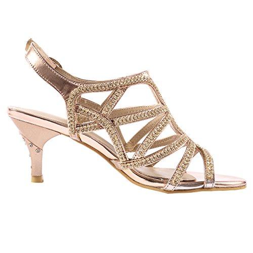 64ef3ca6303f6 Jual SheSole Women s Rhinestone Dress Sandals Low Heel Prom Wedding ...