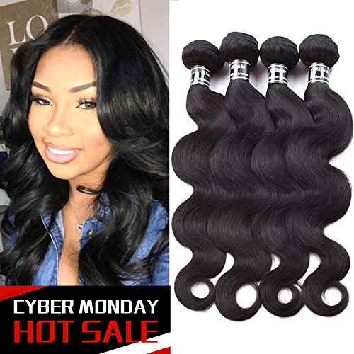 Star Show Hair Body Wave Hair Bundles Malaysian Virgin Hair Body Wave Hair Weave 100% Human Hair Extensions 4 Bundles Soft and Bouncy Hair Weft 16 18 20 22 inch Natural Color by Star Show