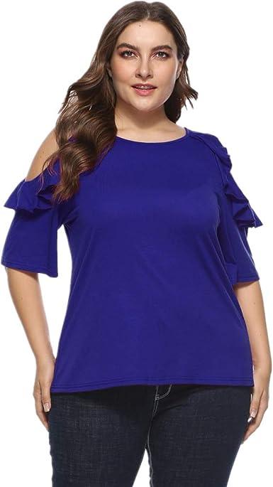 LRWEY Camisetas para Mujer, Camisa de Mujer de Talla Grande con Volantes fríos, Camisa de Hombro frío, Tops de Manga Media: Amazon.es: Ropa y accesorios