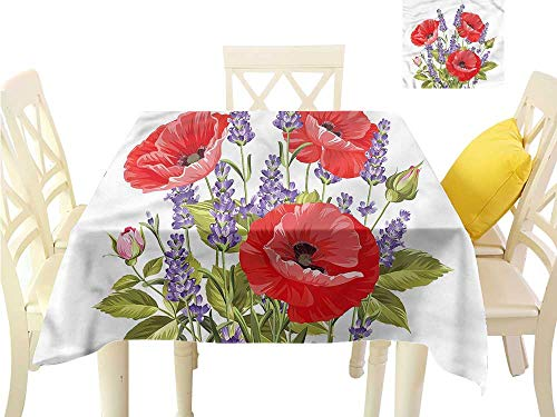 WilliamsDecor Small Tablecloth Lavender,Poppy Flower Bouquet Table Cloths Spill Proof W 54