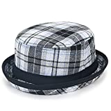 ililily Colorful Checkered Pork Pie Rolled Trim Brim Flat Top Fedora Bucket Hat, White
