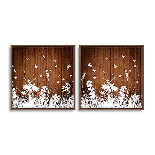 2 Piece Framed for Living Room Bedroom Wood Flower Theme for x2 Panels