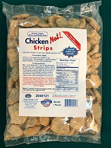 Dixie Carb Counter's Textured Vegan Protein - Perfect and Tasty Soy Based Meat Substitute For Vegans And Vegetarians - Strip Chicken (Not!) - Two 9 Serving Bags