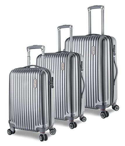 TravelCross Berkeley Luggage 3 Piece Lightweight Spinner Set - Silver by Travelcross