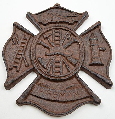 Firefighters Cast Iron Emblem Wall Plaque Rust Finish