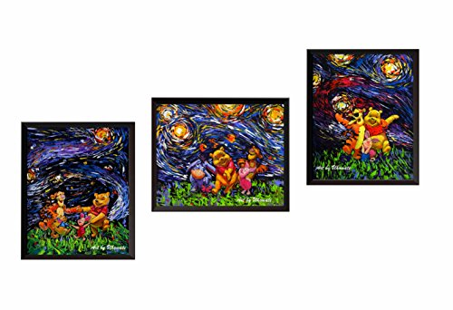 Winnie The Monitor Pooh Baby (Uhomate 3 pcs Winnie The Pooh Winnie Pooh Wall Decor Vincent Van Gogh Starry Night Posters Wall Art Anniversary Gifts Baby Gift Wall Decor Bedroom Bathroom Artwork M043 (8X10))