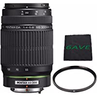 Pentax SMCP-DA 55-300mm f/4-5.8 ED Autofocus Lens + UV Filter + MicroFiber Cloth 6AVE Bundle