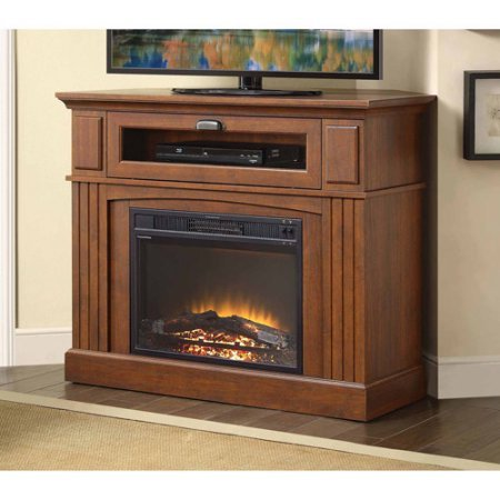 """Sumner Corner Media Stirring Fireplace for TVs up to 45"""", Brown . Contemporary Design Blends Easily With Many Decors."""