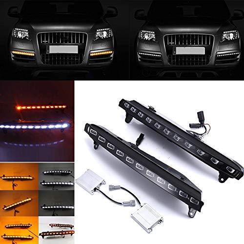 Adealink 1 Pair Daytime Running LED Lights Lamp DC 12V High Brightness Waterproof For Audi Q7 Car
