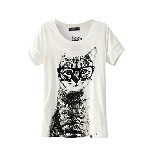 Cat Shirt Top - ETOSELL Retro Lady CrewNeck Short Sleeve T-Shirt Cute Cat Print Loose Tops White,S
