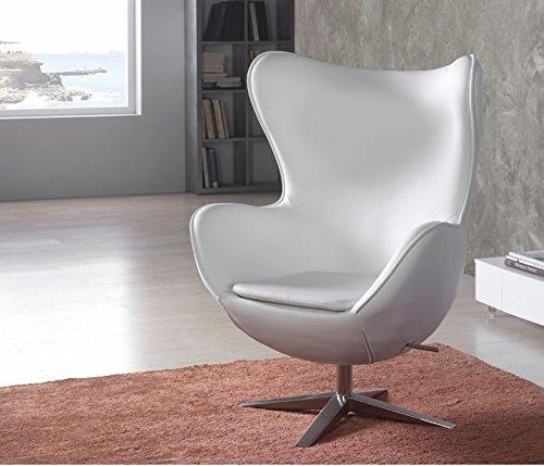 Sessel Rotation Hoch Design Egg Weißes Leder Günstig Kaufen