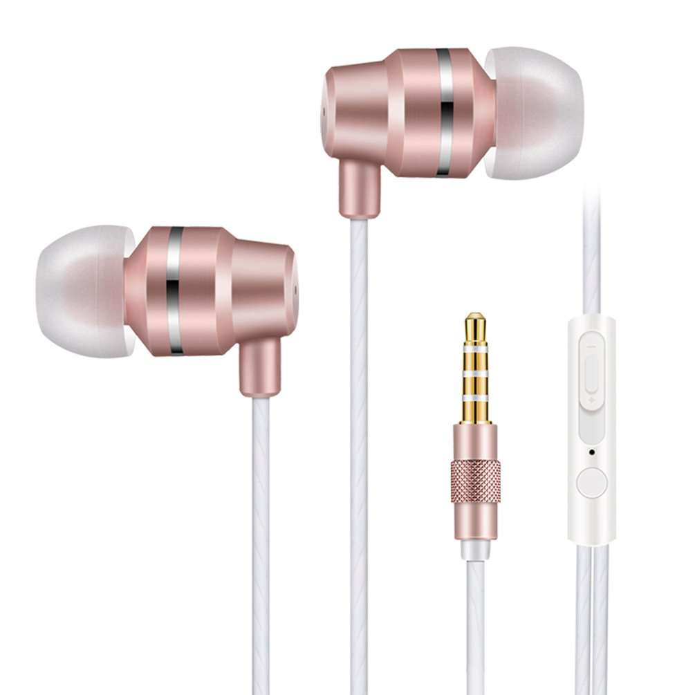 Jies Wired Earphones in Ear Headphones Noise Cancelling Earbuds Bass Stereo Headsets with Microphone & Volume Control & Remote for iPhone Android iPod iPad Mp3 Tablet Laptop (Gold)