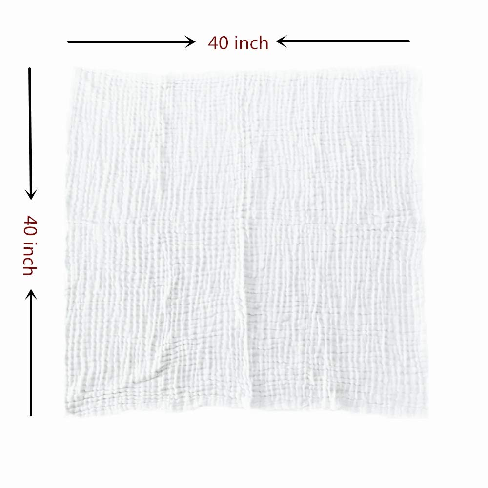 Organic Muslin Baby Towel Cotton Gauze Super Soft Baby Bath Towels 6 Layers Infant Towels Newborn Blanket Suitable for Baby\'s Delicate Skin 40 x 40inches White by Mom\'s Love