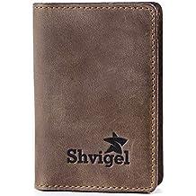 Credit Card Holder - Leather Slim Wallet Case for Business Men & Women - Pocket Id (Brown Vintage)