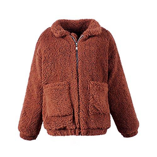 Bf Manteau Outwear Minetom Automne Épais Peluche Veste Manches Style 0wq65O1