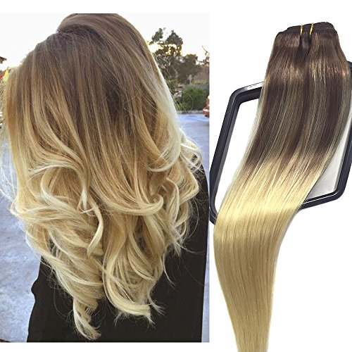 Clip in/on Hair Extensions Human Hair 7 Pieces 120g Per Set Medium Brown with Blonde Dip Dyed Ombre Balayage For Full Head Straight Soft Thick(18 inches, #4T4P-613)