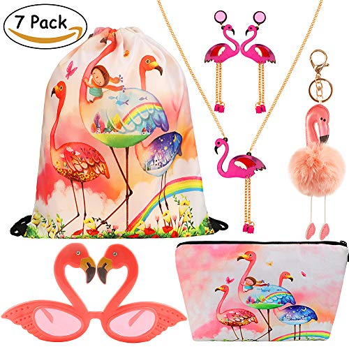CoocleApril 7 Pack Girls Party Favors Gift Flamingo Bags Glasses Necklace Earring Coin Purse Keychain Birthday Party Gifts Pack for Kids Girls by COGGIFEL