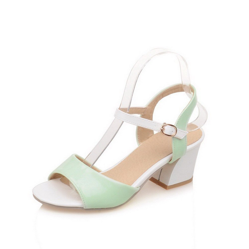 AllhqFashion Women's PU Assorted Color Buckle Open Toe Kitten-Heels Sandals, Green, 33